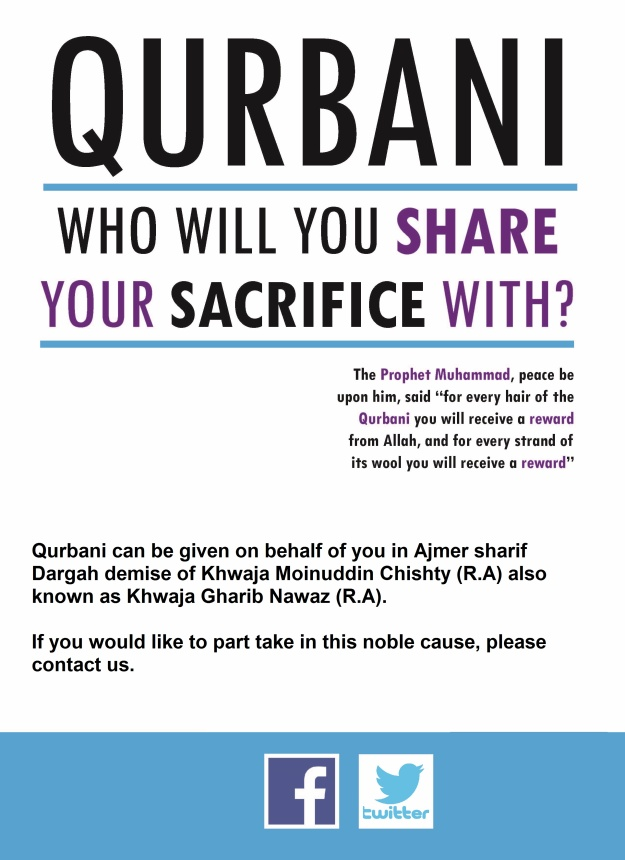 Donate your Qurbani to Ajmer Sharif Dargah demise of famous Sufi Saint Khwaja Moinuddin Chishty (R.A) also known as Khwaja Gharib Nawaz (R.A)